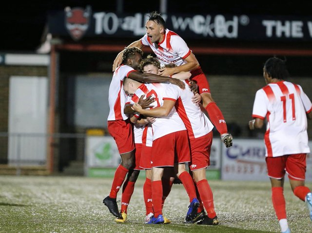 Langney Wanderers celebrate against Tower Hamlets. Picture by Lydia Redman