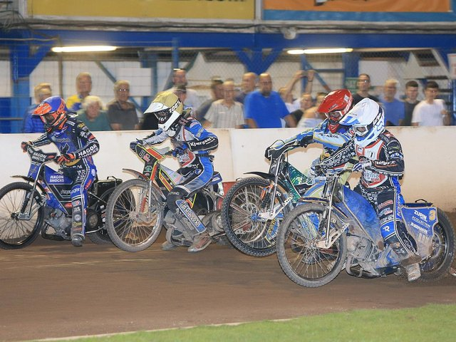 Eastbourne Eagles in competitive action in August last year - now hopes of getting speedway on at Arlington this year have been dashed / Picture: Mike Hinves