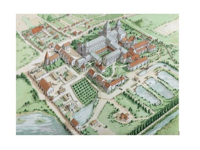 Lewes Priory aerial from the west c1520