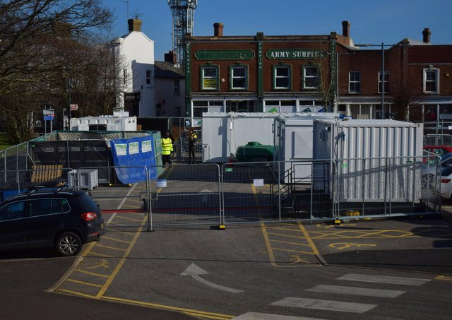 The Covid-19 testing centre at South Road Car Park in Hailsham. Picture: Dan Jessup