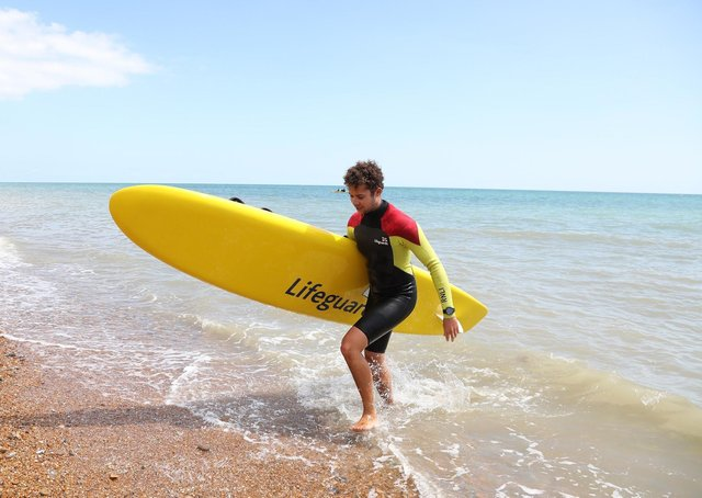 RNLI lifeguards Bexhill-on-Sea  beach July 2020 SUS-210226-183736001