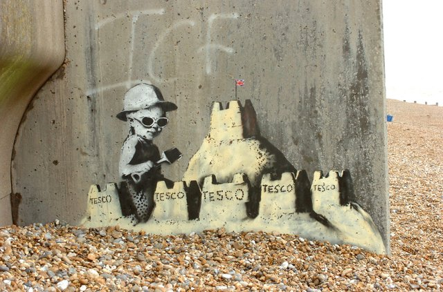 Banksy Graffiti on St Leonards seafront ten years ago.
