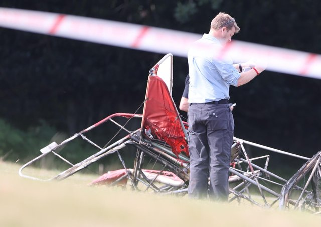 The scene of the fatal plane crash near Heathfield