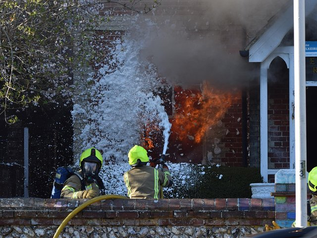 Multiple appliances were sent to Enys Road after a fire broke out in a residential home. Photo: Dan Jessup