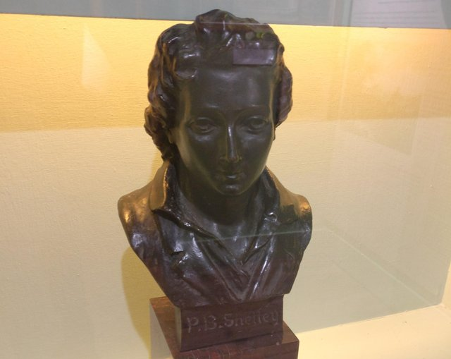 A bust of Percy Bysshe Shelley at Horsham Museum