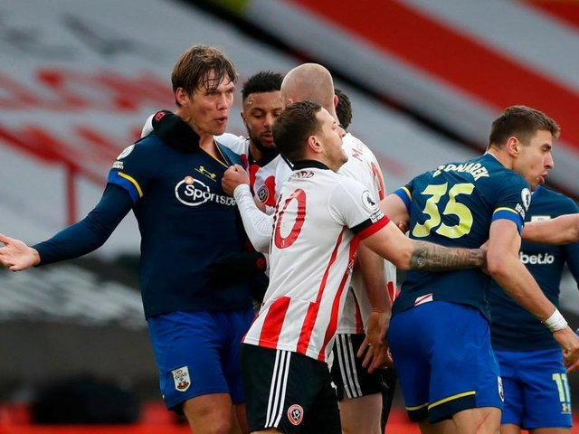 Tempers flared during Southampton's victory at Sheffield United