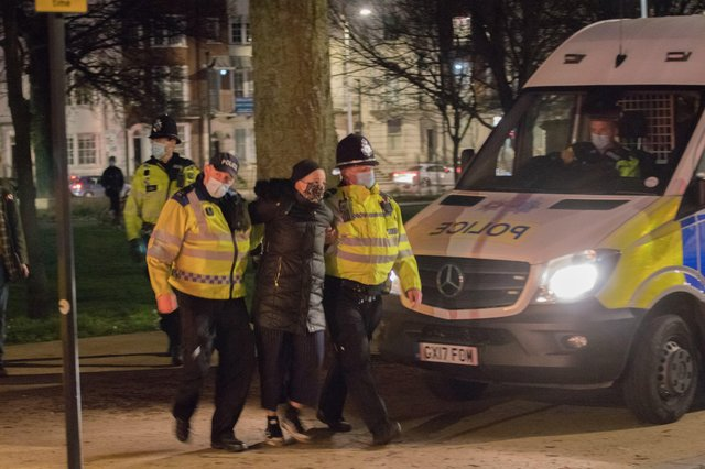 Police clash with demonstrators at Valley Gardens in Brighton