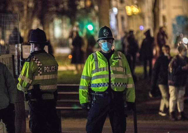 Police respond to a gathering at Valley Gardens in Brighton