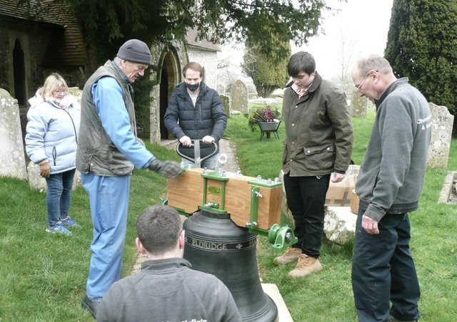 Refurbished peal of six bells returns to Rodmell Church SUS-210316-101752001