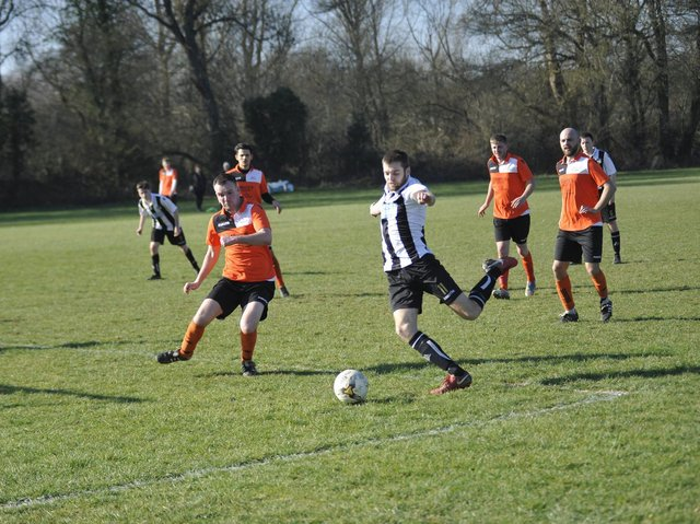 Action from Robertsbridge United against The JC Tackleway in 2019. Picture by Simon Newstead