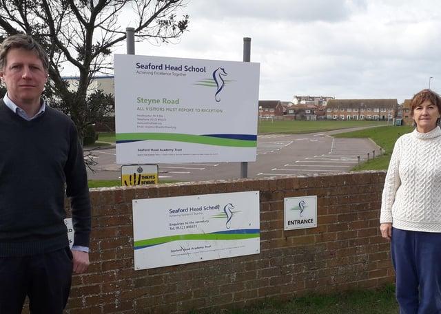 Councillor James MacCleary and councillor Carolyn Lambert at Seaford Head School