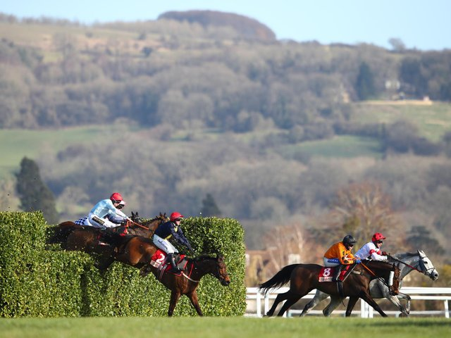 General view of the field during the Glenfarclas Chase race on Day Two of the Cheltenham Festival 2021 (Photo by Michael Steele/Getty Images)