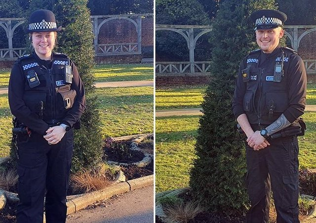 PCs Donna King and Daniel Churchyard. Picture: Sussex Police
