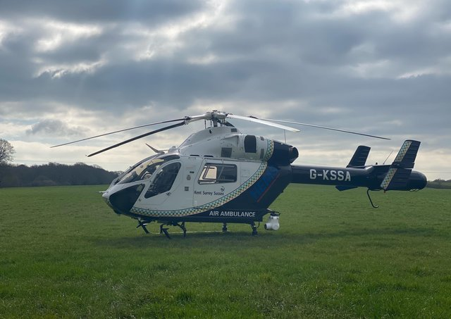 An air ambulance on scene in Hailsham. Picture: Dan Jessup/Lewis Isted