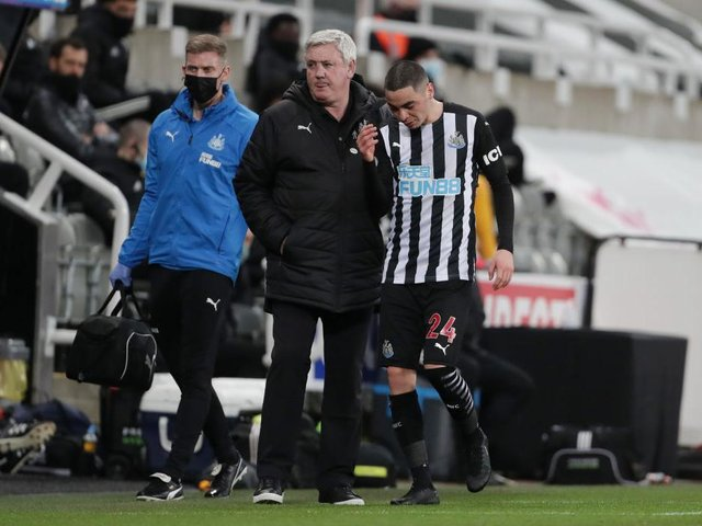 Newcastle United boss Steve Bruce will assess the fitness of Almiron ahead of kick-off at the Amex Stadium