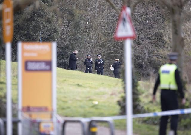 Police at the scene in Portslade