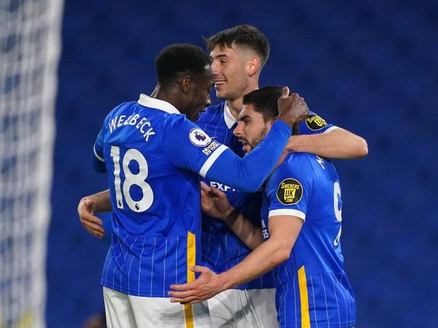 Brighton and Hove Albion celebrate Neal Maupay's goal in the 3-0 victory against Newcastle at the Amex Stadium