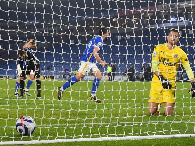 Neal Maupay ends his goal drought against Newcastle at the Amex Stadium