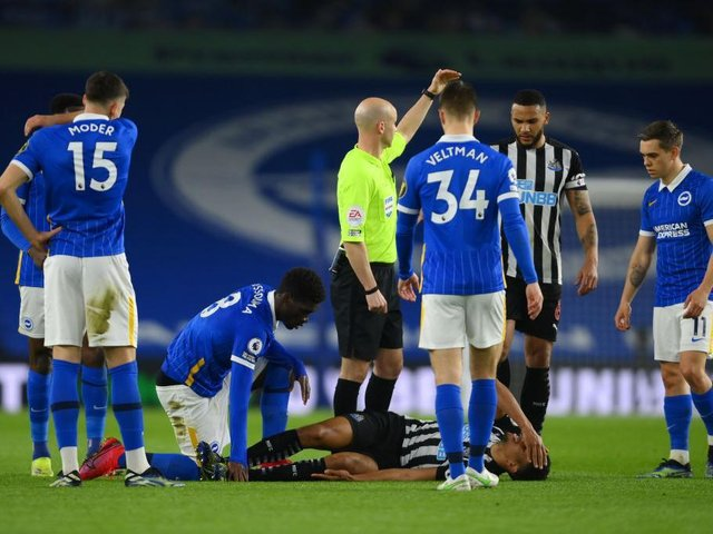 Isaac Hayden was injured in the first half after an accidental collision with Yves Bissouma