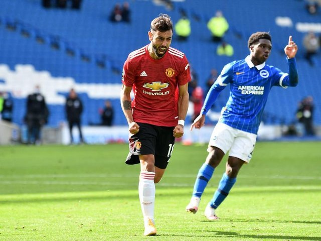 Manchester United's Bruno Fernandes scored a controversial 100th minute in a crazy match at the Amex Stadium earlier this season