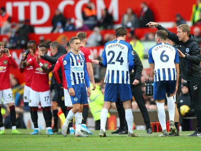 Graham Potter's Brighton suffered badly during a 3-1 loss against Manchester United at Old Trafford last season
