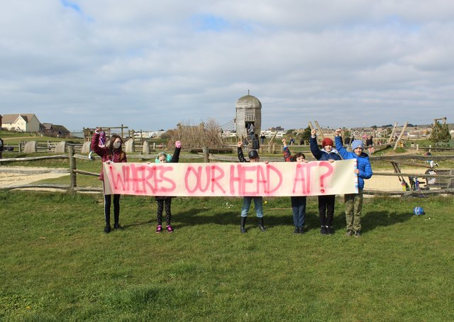 Pupils held a socially-distanced protest in Peacehaven