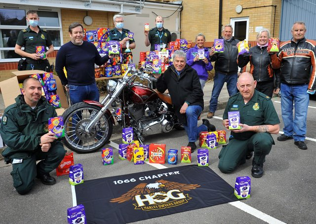 The 1066 Chapter Harley-Davidson Owners Club delivers hundreds of chocolate Easter eggs to Worthing Ambulance Station and is welcomed by TV and radio sports presenter John Inverdale. Picture: Steve Robards SR2104025