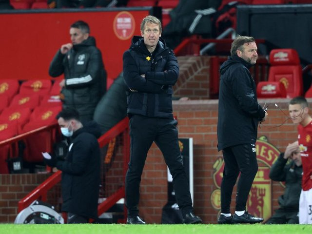Brighton and Hove Albion head coach Graham Potter saw his team lose at Old Trafford after going 1-0 up