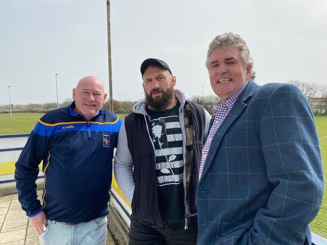 From left, Kerry Cook, Joe Marler and Will Stadler at Eastbourne RFC