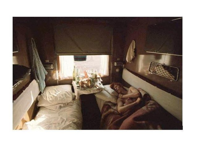 David asleep on the Trans Siberian Express, 1973. Copyright, Geoff MacCormack