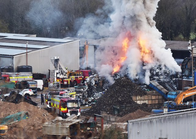 Serious fire at recycling site in Lewes. Picture: Eddie Mitchell and Dan Jessup