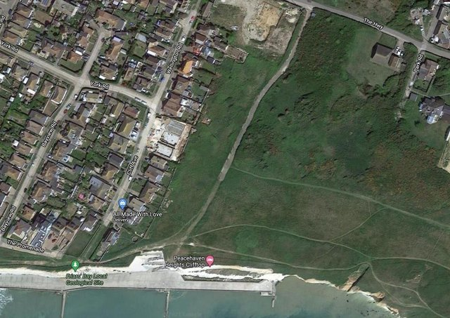 The plot of land is located on a cliff top in Peacehaven. Photo: Google Streetview
