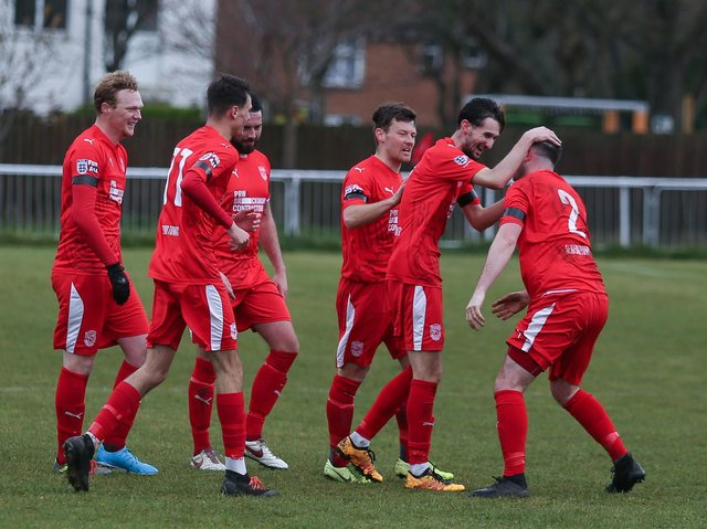 Seaford Town celebrate a goal / Picture: Andy Pelling