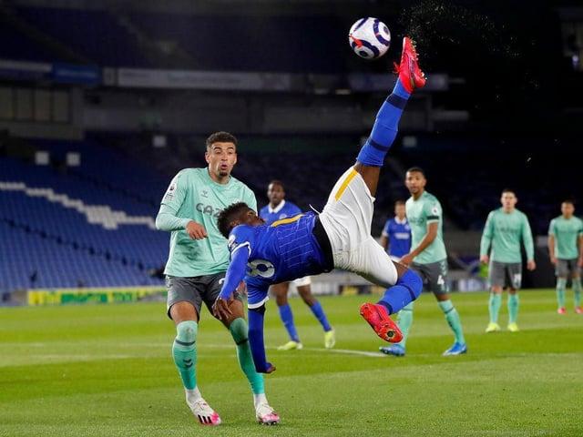 Brighton midfielder Yves Bissouma attempts a spectacular effort against Everton