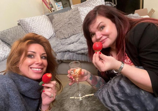 Katy Jobbins and Nadine Hill on Rich House Poor House. Pitcure: Permanent Makeup Training Academy