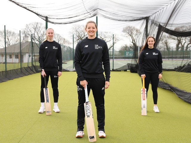 Bedes senior school trio in The Hundred - L to R Freya Kemp, Sarah Taylor and Alice Capsey
