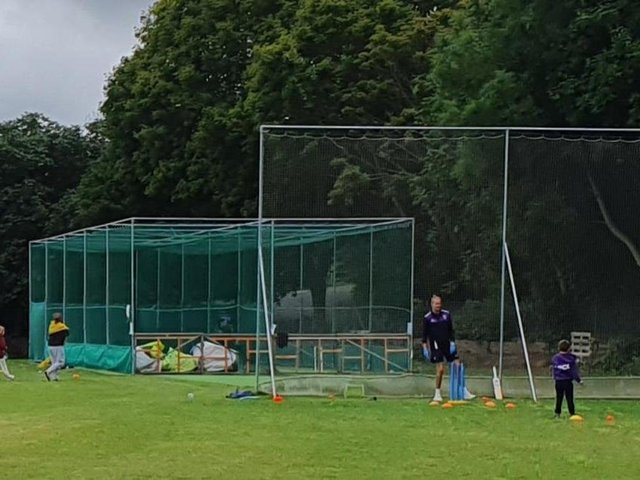 Activity in the nets at Lewes Priory during the last break between lockdowns