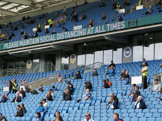 Brighton fans could return to the Amex Stadium for Albion's Premier League clash against Man City in May