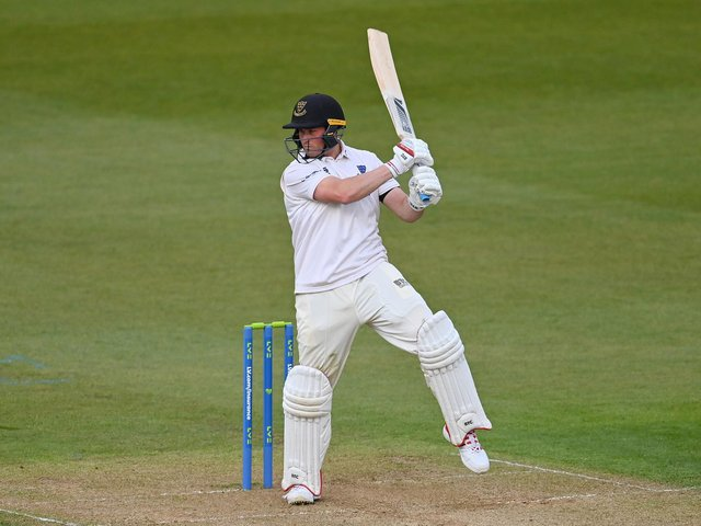 Aaron Thomason on his way to passing 50 in the Sussex reply at Cardiff / Picture: Getty