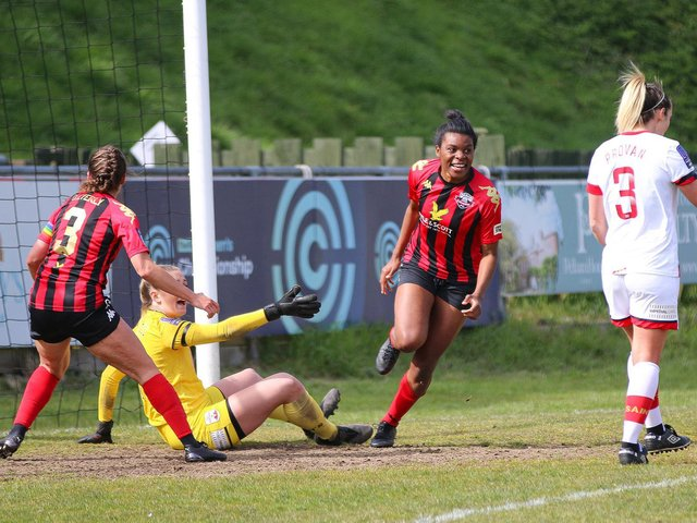 Ini Umotong runs away to celebrate her equaliser against Southampton / Picture: James Boyes