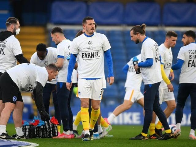 Brighton players made their views on the European Super League clear at Stamford Bridge against Chelsea