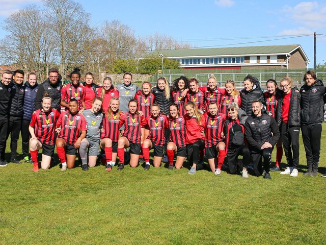 Lewes line up for an end of season photo / Picture: James Boyes