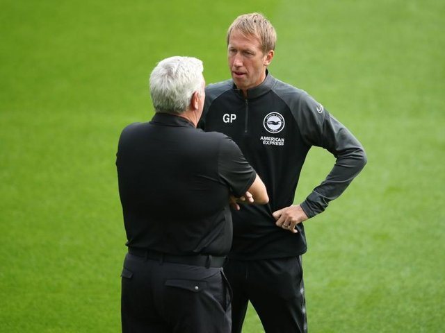 Brighton boss Graham Potter and Steve Bruce of Newcastle continue their battles to remain in the Premier League