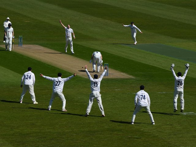 Ollie Robinson dismisses Adam Lyth earlier in the match / Picture: Getty