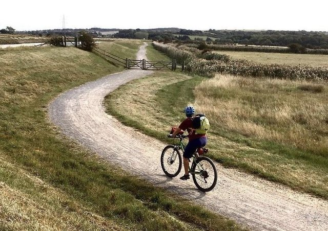 A cyclist along the route