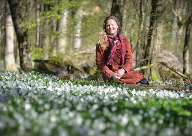 Arlington Bluebell Walk pictured on 23/4/21.At the time of the visit, a beautiful white display of wood anemones covered the woodland floor.Philippa Vine, daughter of John McCutchan, the organiser of the walk. SUS-210423-134554001