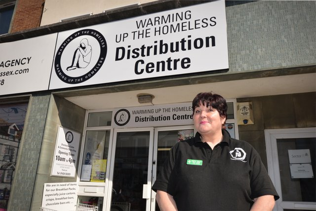 Warming Up The Homeless distribution centre, Bexhill.Trudy Hampton (CEO). SUS-210427-125449001