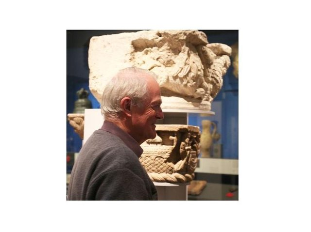 Lewes Priory Trust - Tony Freeman with Priory carved stones at British Museum