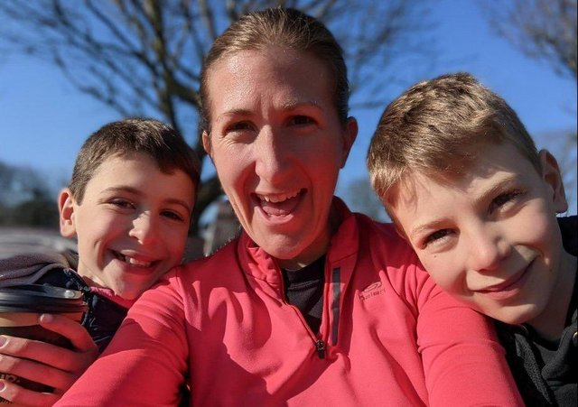 Joanne Turner, a paediatric nurse, with her sons, who she was home schooling during lockdown