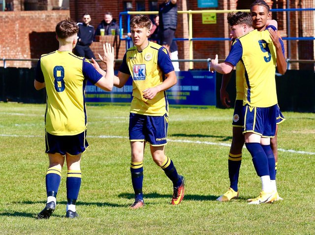 George Taggart celebrates his goal in Eastbourne Town's 2-0 win at home to Little Common on Saturday. Picture by Joe Knight